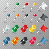 Pins Flags Tacks. Colored Pointer Eps Marker Pin Flag Tack Pinned Board Pushpin Organized Announceme poster