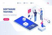 Software Testing. Online Computer Test Inspection Application Bug Fixing Prototype System Website De poster