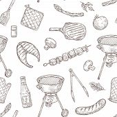 Barbecue Seamless Pattern. Sketch Barbeque Chicken Grill Vegetables Fried Steak Meat Picnic Party Vi poster