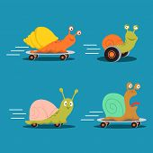 Fast Characters Snails Cartoon Vector Of Set. Illustration Of Fast Snail On Skate, Happy Slow Animal poster
