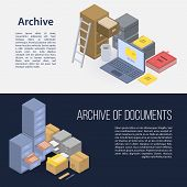 Archive File Banner Set. Isometric Set Of Archive File Vector Banner For Web Design poster
