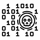 Malicious Code Icon. Outline Malicious Code Vector Icon For Web Design Isolated On White Background poster