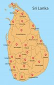 District Map Of Sri Lanka.district Map Of Sri Lanka Drawing By Illustration. All District Twenty Fiv poster