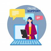 Woman Assistant On Notebook Display Online Technical Support Vector Illustration. Internet Virtual H poster