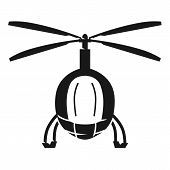 Police Helicopter Front View Icon. Simple Illustration Of Police Helicopter Front View Icon For Web  poster