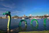 Orlando, Florida - January 15: Dragon At Lego Zone Of Downtown Disney Becomes Fame In Chinese New Ye