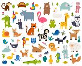 Cute Animal Vector Illustration Icon Set Isolated On A White Background poster