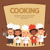 Kids Characters Prepare Food. Cooking Kids Chefs Banner Vector Template. Chef Restaurant Children, C poster