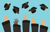 Students Throw Graduation Caps Into The Air Vector Background. Illustration Of Celebration Graduatio poster