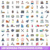 100 Working Professions Icons Set. Cartoon Illustration Of 100 Working Professions Icons Isolated On poster