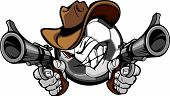 stock photo of wrangler  - Soccer Ball Cartoon Face with Cowboy Hat Holding and Aiming Guns - JPG