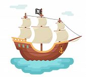 Wooden Boat Pirate Buccaneer Sailing Filibuster Bounty Corsair Journey Sea Dog Ship Game Icon Isolat poster