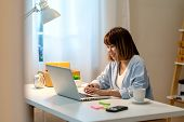 Candid Of Happy Young Attractive Asian Woman Work At Home In Evening Or Late Night With Sme Business poster