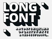 Long Shadow Font. Retro Boldness 3d Alphabet, Old Bold Type And Vintage Cool Typography Hipster Type poster