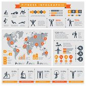 Fitness Infographic. Sport Lifestyle Healthy People Making Exercises In Gym Or Outdoor Vector Infogr poster