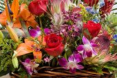pic of flower arrangement  - exotic colorful flowers arrangement  - JPG