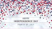 4th Of July White Wooden Background With Red, Blue, White Stars Confetti. American Independence Day  poster