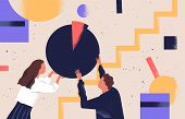 Man And Woman Organizing Abstract Geometric Shapes. Pair Of People Holding Round Pie Chart. Cute Fun poster