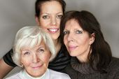 image of elderly woman  - Senior woman and mature daughter and granddaughter portrait - JPG