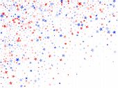 American Presidents Day Stars Background. Holiday Confetti In Usa Flag Colors For Patriot Day.  Vivi poster