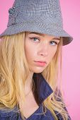 Girl With Make Up Wear Wide Brimmed Hat. Fashion Girl Concept. Fashion And Style. Blonde Fashion Mod poster
