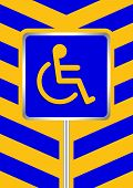 Disabled Signs Blue Colors On Blue And Yellow Stripes Frame Background, Sign Boards Of Disability Sl poster