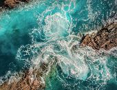 Beautiful aerial birds eye view on ocean waves, Fuerteventura island. Aerial shooting seascape coast poster