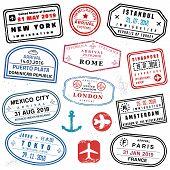 Passport Stamp Set - Novelty Vector Passport Stamps Collection. poster