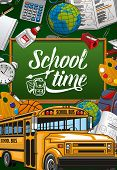Back To School, Green Chalkboard Poster With Student Study And Education Supplies. Vector School Tim poster