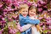Love Is In The Air. Kids In Love Pink Cherry Blossom. Romantic Babies. Couple Kids Walk Sakura Tree  poster