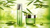 Olive Cosmetics Vector Realistic Poster. Green Spray Bottle With Moisturizing Lotion And Jar Of Cosm poster