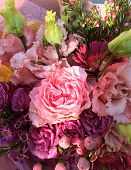 Spring Bouquet Of Mixed Colorful Flowers. Flowers Bouquet Including Pink Hamelacum, Pink Eustoma, Pi poster