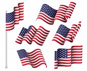 Usa Flags. Set Of Six Wavy Flags. United States Patriotic National Symbol poster