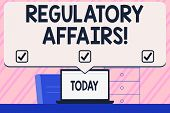 Conceptual Hand Writing Showing Regulatory Affairs. Business Photo Text The Desire Of Governments To poster
