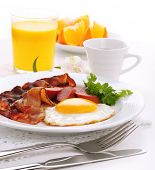 stock photo of yolk  - Breakfast with bacon - JPG