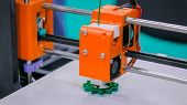 Three Dimensional Printing Machine Printing 3d Plastic Model At Modern Technology Exhibition. 4.0 In poster