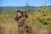 Aiming Skills. Hunting Permit. Bearded Hunter Spend Leisure Hunting. Hunting Equipment For Professio poster