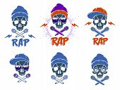 Rap Music Vector Set Logo Or Emblems With Aggressive Skull And Two Microphones Crossed Like Bones, H poster