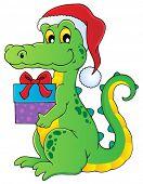 stock photo of crocodilian  - Christmas crocodile theme image 1  - JPG