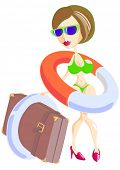 foto of lifeline  - Vector drawing of a beautiful girl in a bathing suit and with a lifeline - JPG