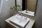 image of lavabo  - modern bathroom with sinks and mirror  - JPG