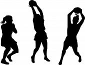 picture of netball  - Vector art on the sport of netball on white background - JPG