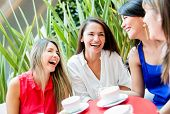 stock photo of bff  - Group of girls having a coffee and talking - JPG