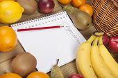 Постер, плакат: Книга и карандаш на фоне фрукты