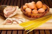 stock photo of guanciale  - Spaghetti carbonara ingredients - JPG