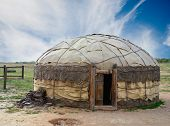 image of yurt  - Traditional mongolian yurt made of animal skins - JPG