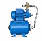 stock photo of centrifuge  - Blue electric high pressure water pump isolated on white - JPG