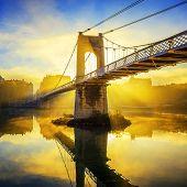 ������, ������: Sunrise On College Footbridge In Lyon