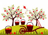 stock photo of hand-barrow  - vector hand barrow and baskets of apples in apple orchard - JPG