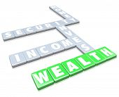 stock photo of accumulative  - The words Wealth - JPG